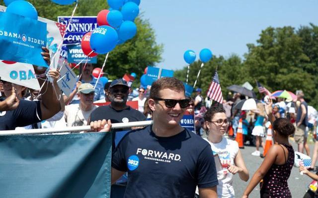 Aaron Bartnick on a 2012 Obama campaign rally