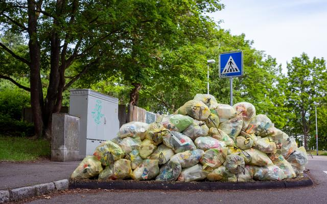 pile of bags with food waste in