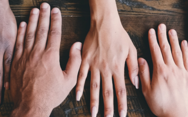hands on a table