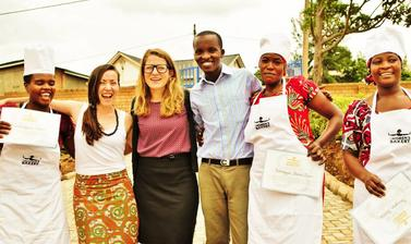 Julie with the first The Women's Bakery group in Rwanda