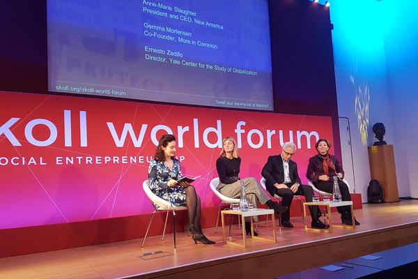 Four people on stage on the Populism and Progress panel at Skoll World Forum