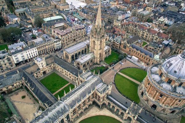 aerial view of Oxford city