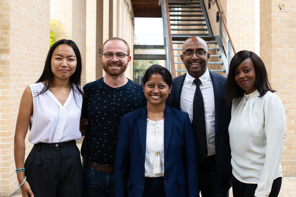 Group shot of five Skoll Scholars 2019-20