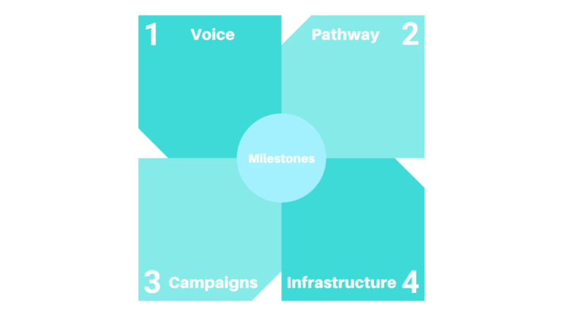 Four component blue graphic on milestones: 1. Voice, 2. Pathway, 3.Campaigns, 4.Infrastructure.