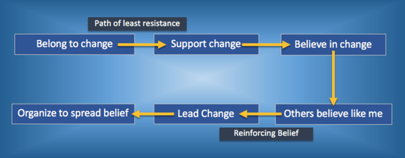 Journey of a bottom-up movement leader from start to end: 'Belong to change', 'Support change', 'Believe in change', 'Others believe like me', 'Lead change', 'Organise to spread belief'