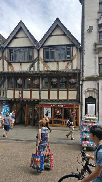 The Pret a Manger shop inside a 600 year old tudor-style building in Oxford